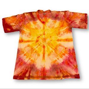 Tie dye sunburst v-neck tshirt XXL